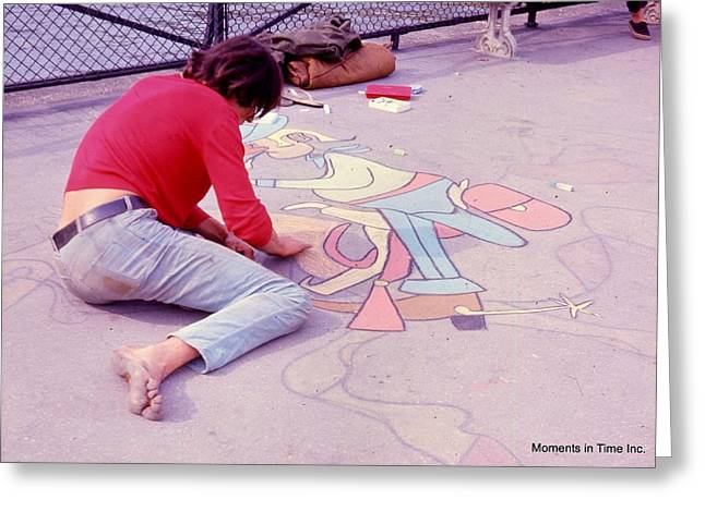 Color_image Greeting Cards - Paris Chalk Artist 1963 Greeting Card by Glenn McCurdy