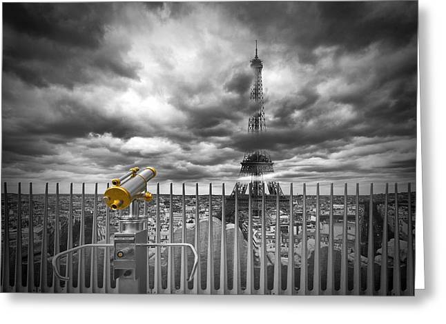 Golden Greeting Cards - PARIS Composing Greeting Card by Melanie Viola