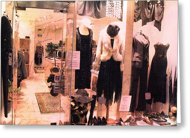 Paris Couture Dress Shop Window Fashion  Greeting Card by Kathy Fornal