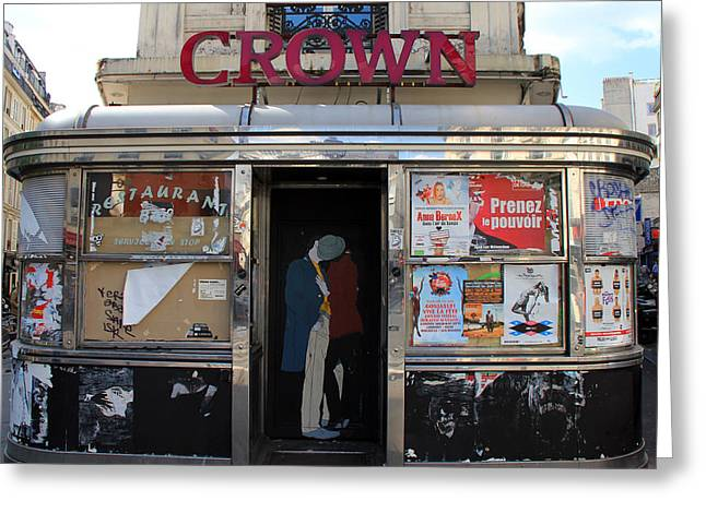 Stainless Steel Greeting Cards - Paris Diner Greeting Card by Andrew Fare