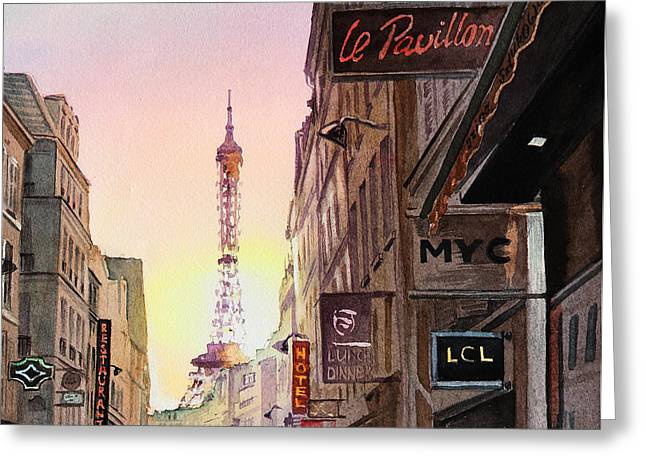 Rue Saint Dominique Greeting Cards - Paris Eiffel Tower Greeting Card by Irina Sztukowski