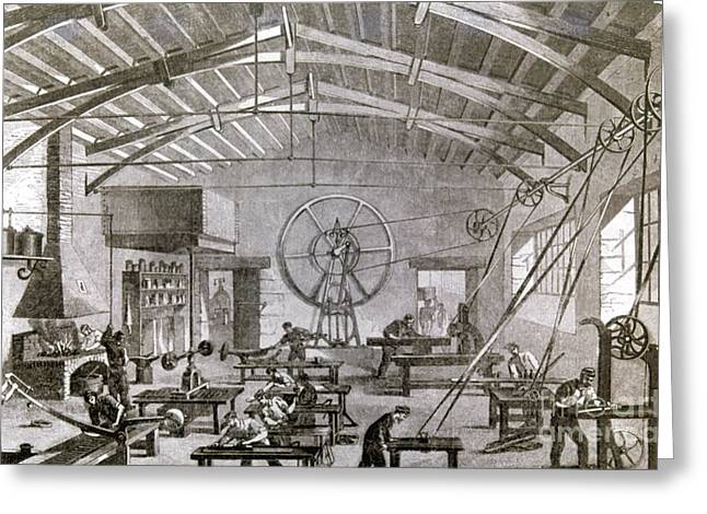 Venetian Blinds Greeting Cards - Paris: Factory, 1861 Greeting Card by Granger