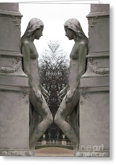 Garden Scene Photographs Greeting Cards - Paris Luxembourg Gardens Female Statues - Paris Sculpture Art Greeting Card by Kathy Fornal