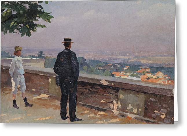 Paris from the observatory at Meudon Greeting Card by Jules Ernest Renoux