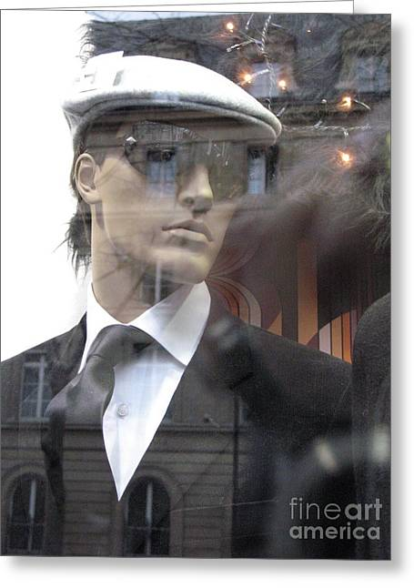 Art Nouveau Greeting Cards - Paris High Fashion Male Mannequin Art  Greeting Card by Kathy Fornal