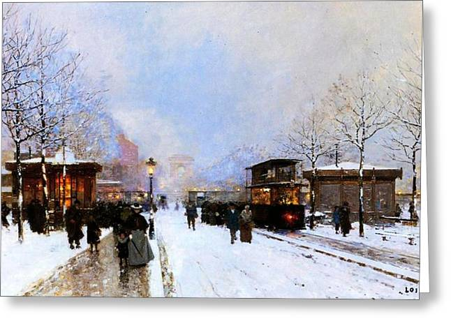 Snowfall Greeting Cards - Paris in Winter Greeting Card by Luigi Loir