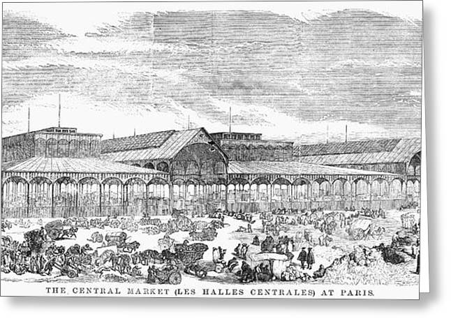 Halle Greeting Cards - Paris: Les Halles, 1858 Greeting Card by Granger