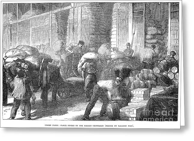 Flour Sack Greeting Cards - Paris: Les Halles, 1870 Greeting Card by Granger