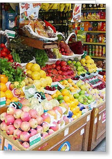 Grocery Store Mixed Media Greeting Cards - Paris Market Greeting Card by Paul Barlo