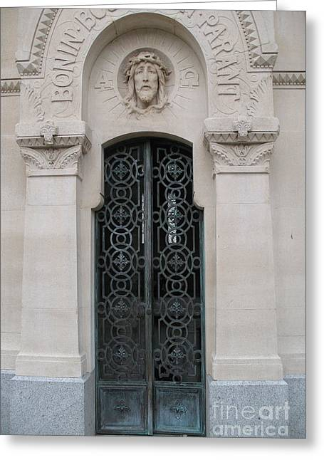 Religious Photographs Greeting Cards - Paris Mausoleum Door With Jesus Greeting Card by Kathy Fornal