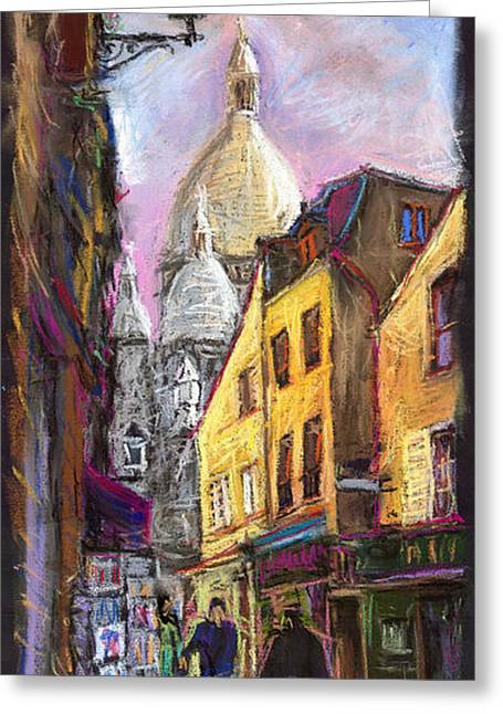 Streets Pastels Greeting Cards - Paris Montmartre 2 Greeting Card by Yuriy  Shevchuk