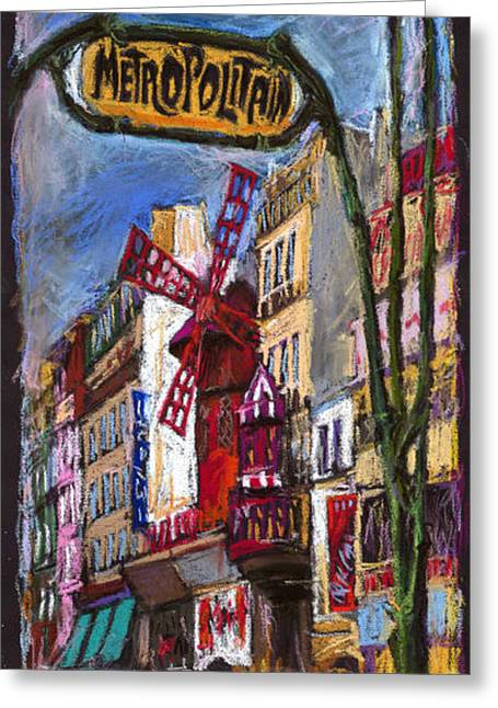 Europe Pastels Greeting Cards - Paris Mulen Rouge Greeting Card by Yuriy  Shevchuk