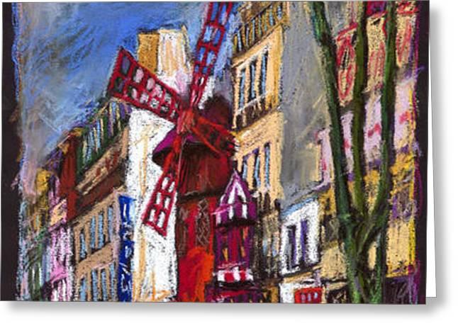 Paris Mulen Rouge Greeting Card by Yuriy  Shevchuk