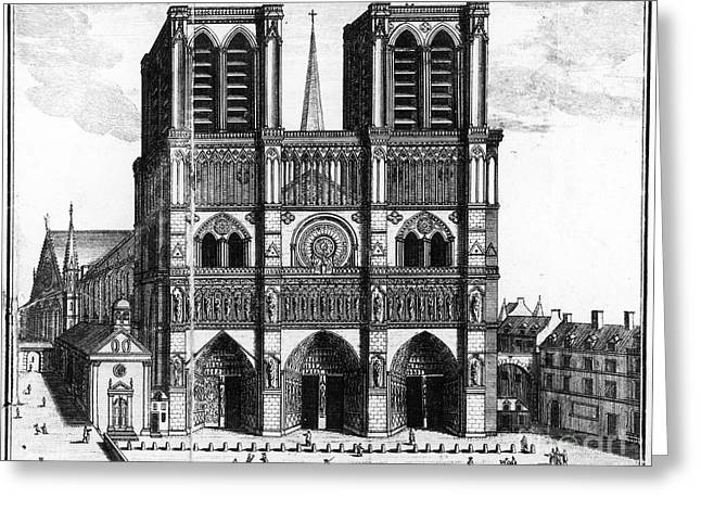 Paris: Notre Dame, 1600s Greeting Card by Granger
