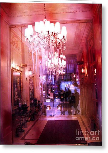 Photographs With Red. Greeting Cards - Paris Posh Pink Red Hotel Interior Chandelier Greeting Card by Kathy Fornal