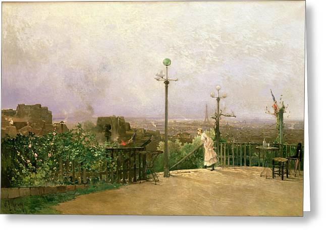 Cafe City Lights Greeting Cards - Paris seen from the heights of Montmartre Greeting Card by Jean dAlheim