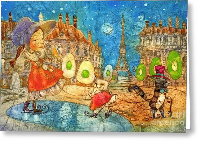 Paris Mixed Media Greeting Cards - Paris snow Greeting Card by Svetlana and Sabir Gadghievs