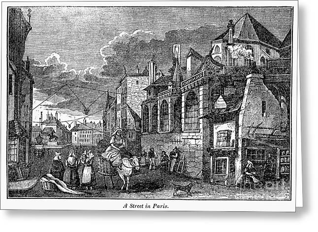 French Laundry Greeting Cards - PARIS: STREET, 1830s Greeting Card by Granger
