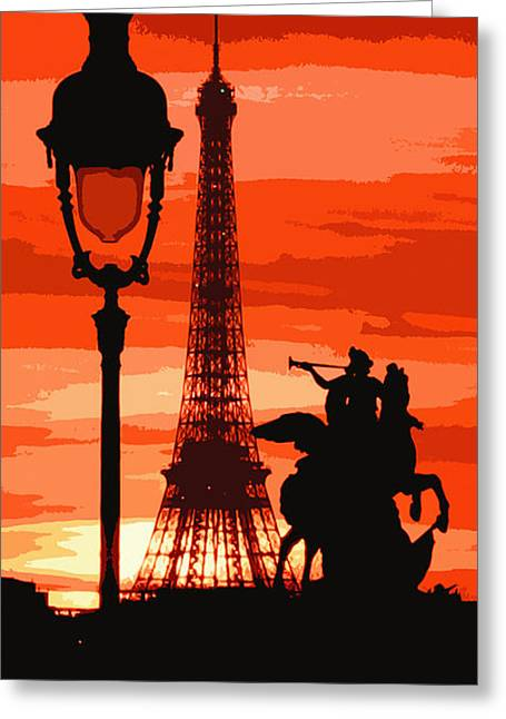 Paris Tour Eiffel Red Greeting Card by Yuriy  Shevchuk
