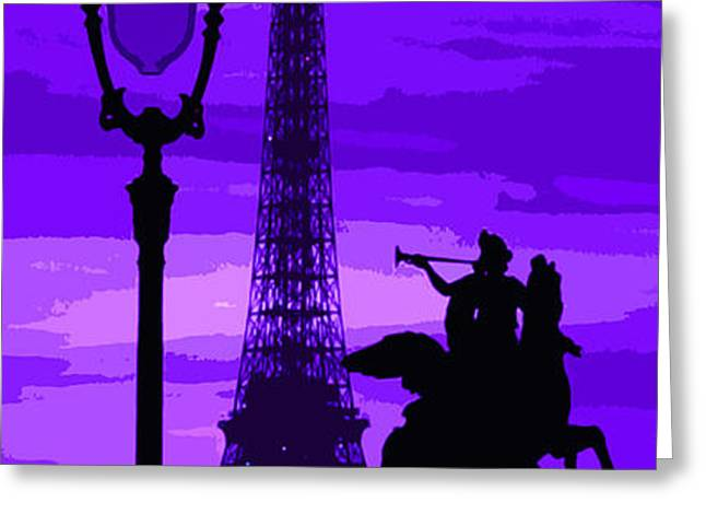 Paris Tour Eiffel Violet Greeting Card by Yuriy  Shevchuk