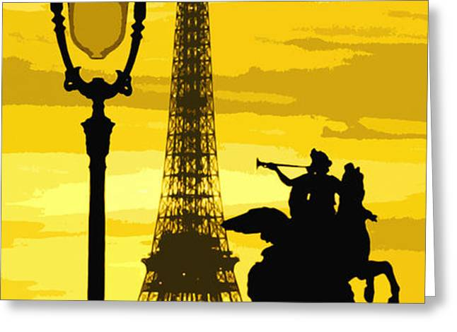 Paris Tour Eiffel Yellow Greeting Card by Yuriy  Shevchuk