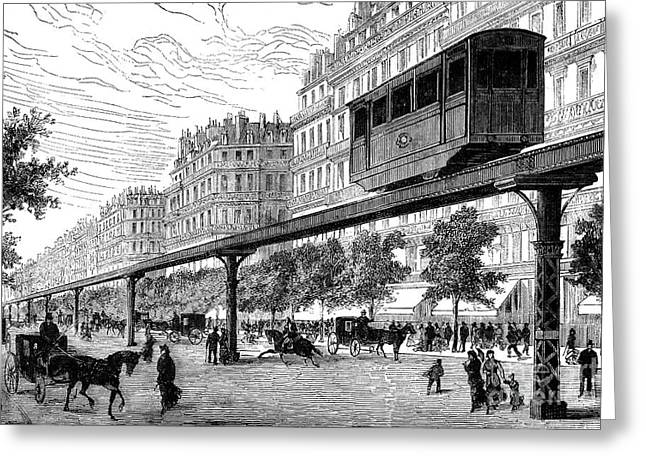 1880s Greeting Cards - PARIS: TRAMWAY, 1880s Greeting Card by Granger
