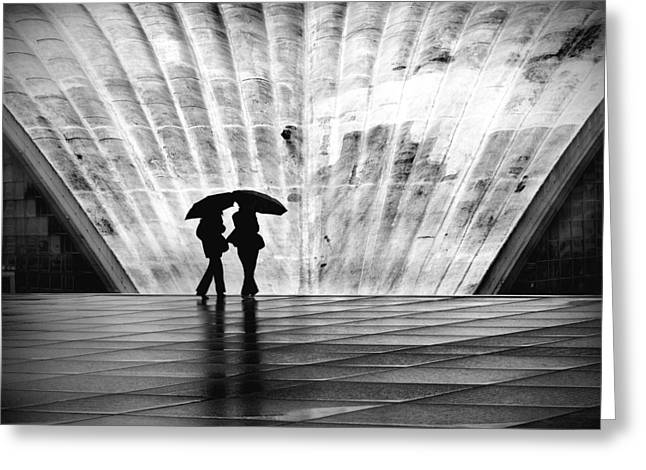 City Rain Greeting Cards - Paris Umbrella Greeting Card by Nina Papiorek