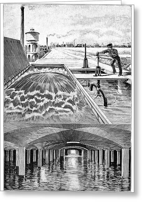 Public Water Supply Greeting Cards - Paris Water Supplies, 19th Century Greeting Card by