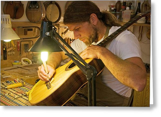 Acoustical Photographs Greeting Cards - Parisian Luthier Greeting Card by Kent Sorensen