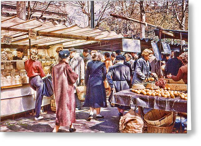 Staley Photographs Greeting Cards - Parisian Market 1954 Greeting Card by Chuck Staley