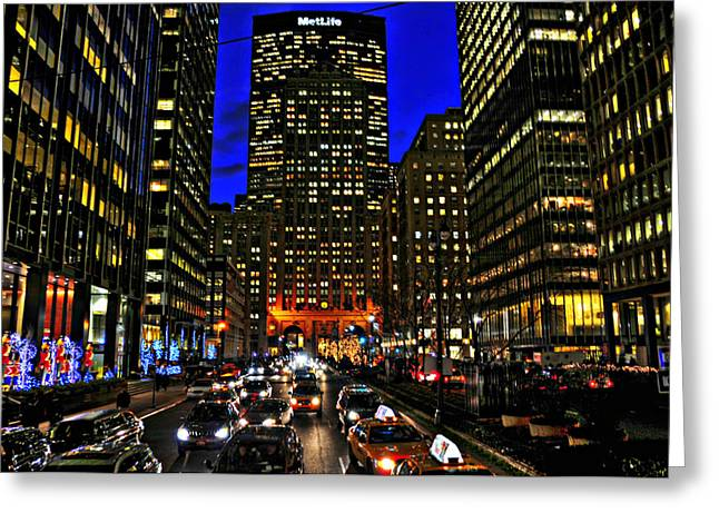 Midtown Greeting Cards - Park Avenue at Night Greeting Card by Randy Aveille
