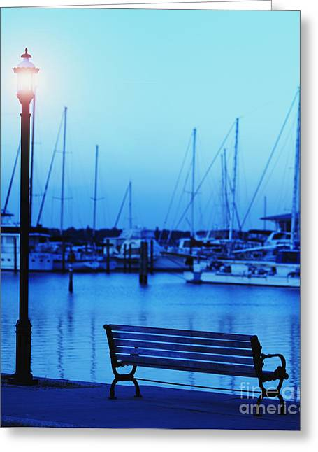Sunset Bay State Park Greeting Cards - Park Bench Along the Water Greeting Card by Skip Nall
