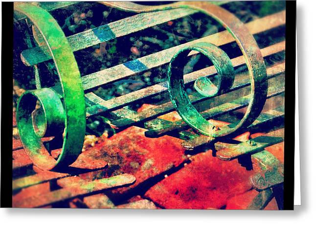 Park Benches Greeting Cards - Park Bench Detail Greeting Card by Jill Battaglia
