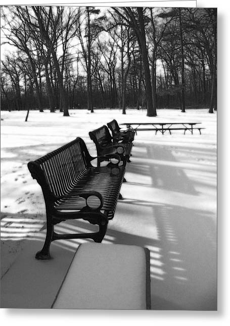 Mohawk Park Greeting Cards - Park Benches in Black and White Greeting Card by Corinne Elizabeth Cowherd