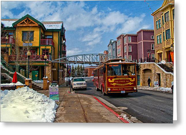 Trolley Car Greeting Cards - Park City Trolley Car Greeting Card by La Rae  Roberts