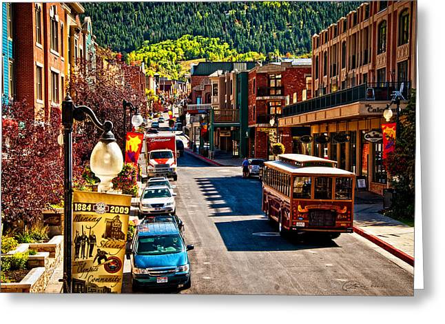 Trolley Car Greeting Cards - Park City Trolley Greeting Card by La Rae  Roberts