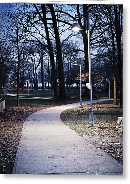 Lighted Pathway Greeting Cards - Park path at dusk Greeting Card by Elena Elisseeva