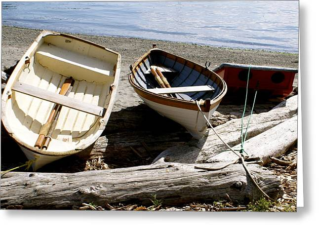Row Greeting Cards - Parked Boats Greeting Card by Sonja Anderson