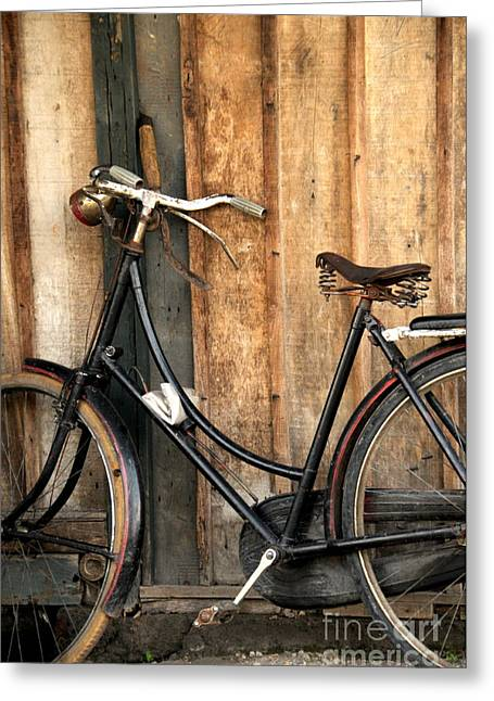 Bi-cycle Greeting Cards - Parked Greeting Card by Charuhas Images
