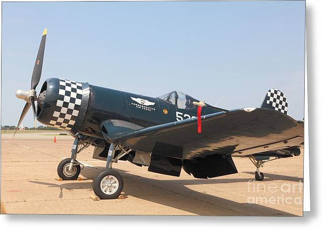 Aviation Art Framed Prints Greeting Cards - Parked WWII Corsair Fighter Greeting Card by M K  Miller