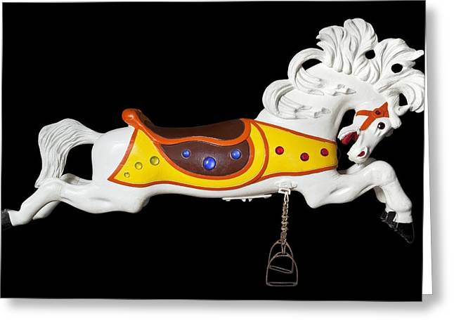 Hand Carved Greeting Cards - Parker Flying Carousel Horse 2 Greeting Card by Kelley King