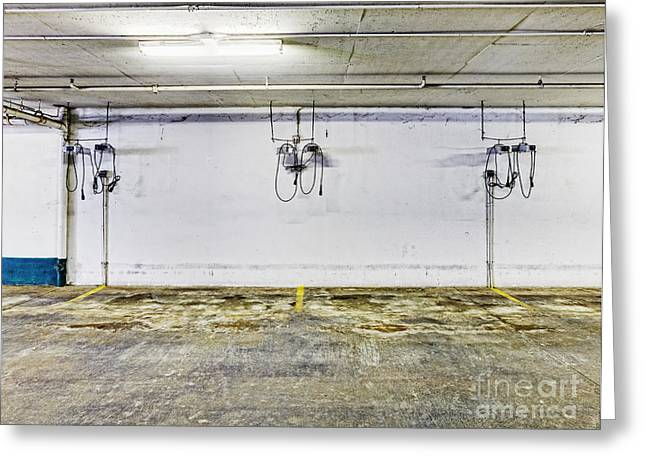 Basement Photographs Greeting Cards - Parking Garage With Charging Stalls Greeting Card by Skip Nall