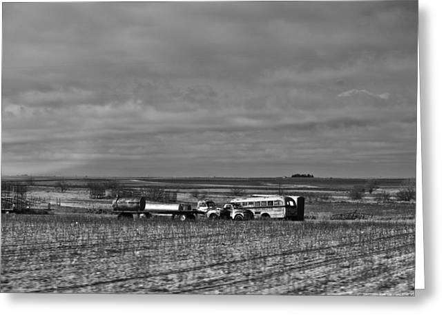 Rural School Bus Greeting Cards - Parking in a Stubbled Field Greeting Card by Alan Tonnesen