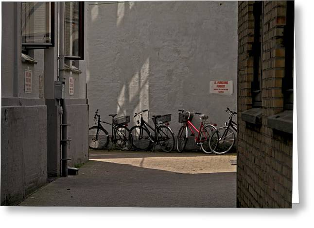 Parking In Rear Greeting Card by Odd Jeppesen
