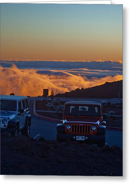 Haleakala Maui Greeting Cards - Parking Lot in the Sky Greeting Card by Patrick  Flynn