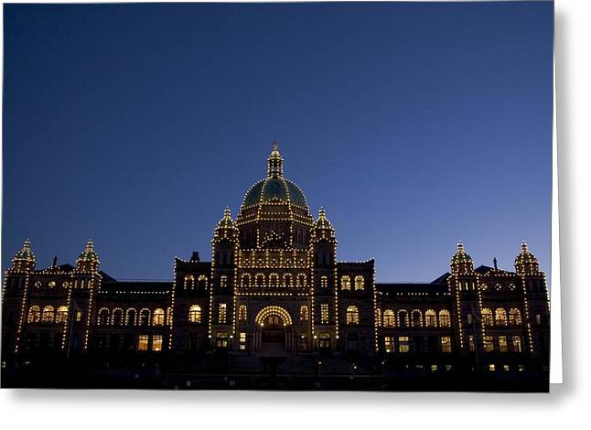 City Lights And Lighting Greeting Cards - Parliament Buildings At Night Greeting Card by Taylor S. Kennedy