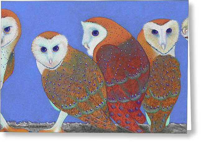 Barn Pastels Greeting Cards - Parliament of Owls Greeting Card by Tracy L Teeter