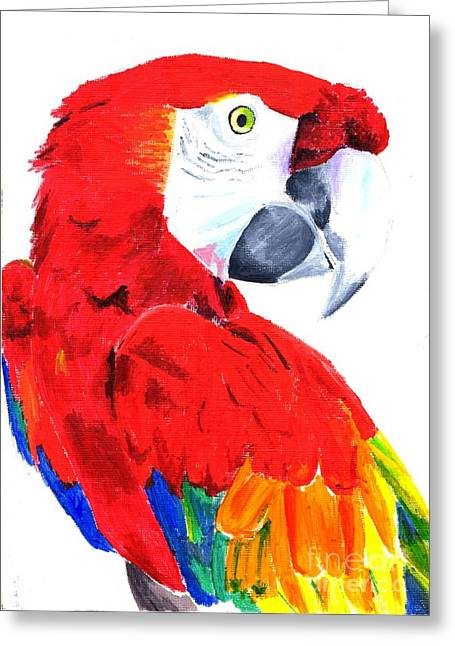 Photocopy Greeting Cards - Parrot Greeting Card by Helen Esdaile
