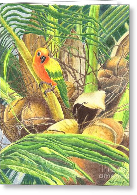 Tree Jewelry Greeting Cards - Parrot in Palm Greeting Card by Norma Gafford