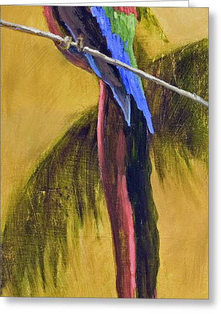 Mo Artist Greeting Cards - Parrot is a Character with Gold Leaf by Vic Mastis Greeting Card by Vic  Mastis